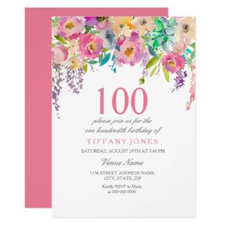 Carte Fête d'anniversaire de fleurs en pastel