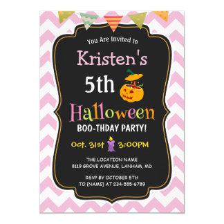 Carte Fête d'anniversaire de Halloween de l'enfant Girly
