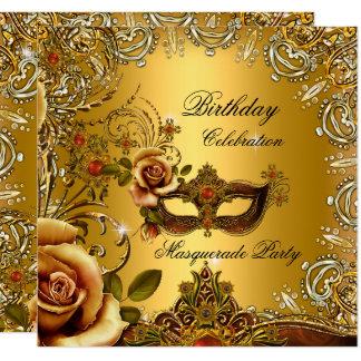 Carte Fête d'anniversaire de masque d'or de mascarade