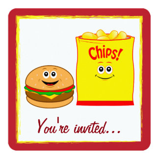 Carte Fête d'anniversaire de pommes chips de