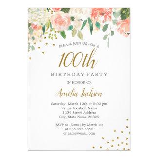 Carte Fête d'anniversaire florale d'aquarelle d'or de
