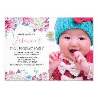 Carte Fête d'anniversaire florale de fille de photo
