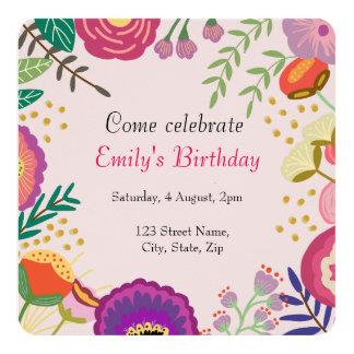 Carte Fête d'anniversaire florale rustique de fleur
