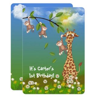 Carte fête d'anniversaire juvénile de jungle
