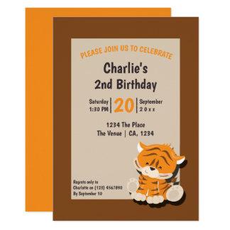 Carte Fête d'anniversaire mignonne de tigre