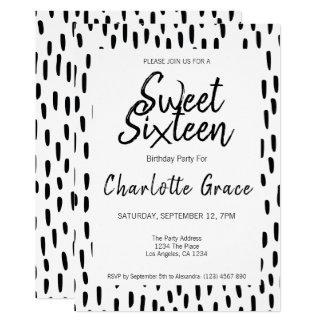 Carte Fête d'anniversaire noire et blanche de sweet