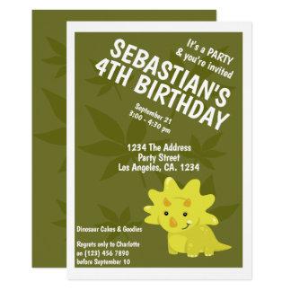 Carte Fête d'anniversaire orientée de dinosaure mignon