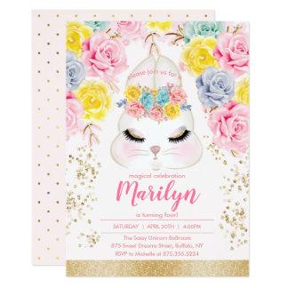 Carte Fête d'anniversaire rose florale de lapin de