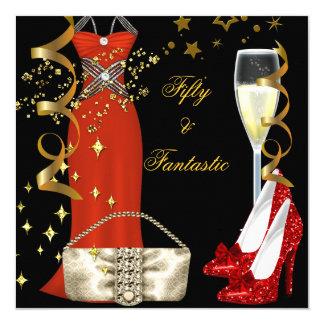 Carte Fête d'anniversaire rouge fantastique d'or de noir