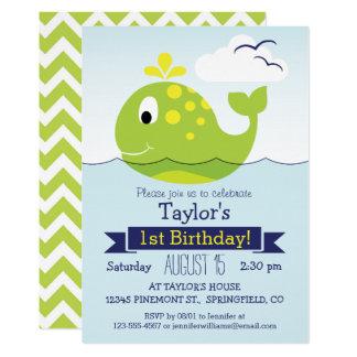 Carte Fête d'anniversaire verte de baleine