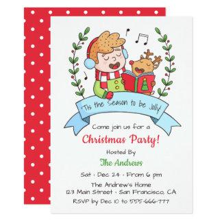 Carte Fête de Noël chanteuse mignonne de garçon et de
