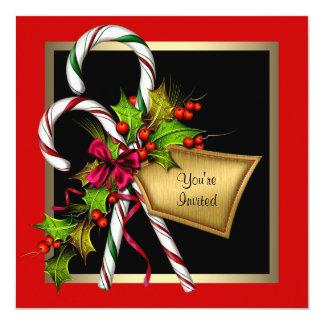 Carte Fête de Noël de rouge de houx de sucre de canne