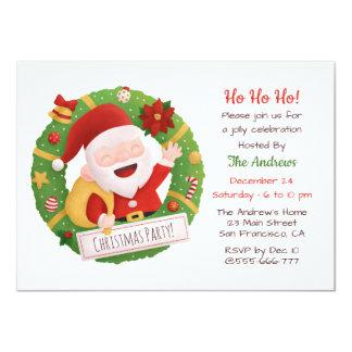 Carte Fête de Noël mignonne de guirlande de Père Noël de