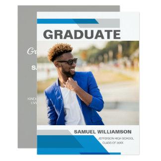 Carte Fête de remise des diplômes bleue moderne 2018 de