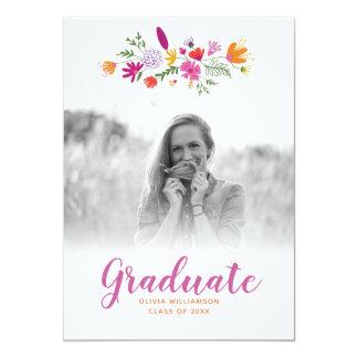 Carte Fête de remise des diplômes licenciée florale