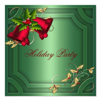 Carte Fête de vacances d'entreprise rouge verte de Bells