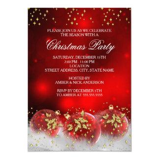 Carte Fête de vacances rouge de Noël de babioles de houx