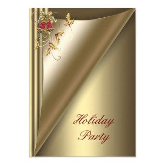Carte Fête de vacances rouge de Noël d'or