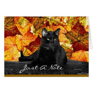 Carte Feuille de chat noir et d'automne