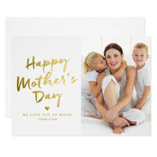 Carte Feuille d'or heureuse de Faux du jour de mère |