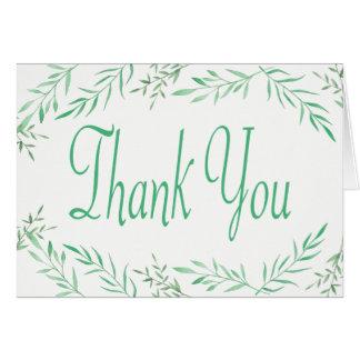Carte Feuille vert rustique d'aquarelle de Merci,
