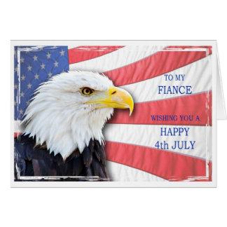 Carte Fiancé, le 4 juillet avec un aigle chauve et un