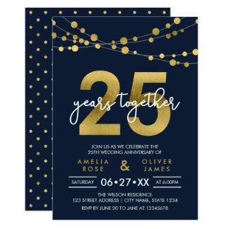 Carte Ficelles bleues de 25ème anniversaire de mariage