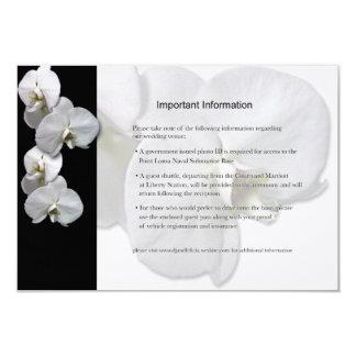 Carte Fiche d'informations blanche d'orchidées
