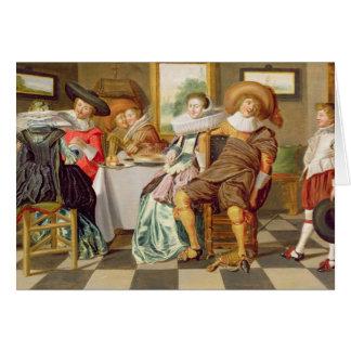 Carte Figures élégantes se régalant à un Tableau