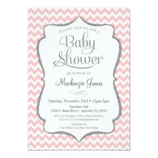 Carte Fille argentée rose de Chevron d'invitation de