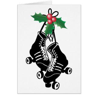 Carte Fille de Derby de rouleau, Noël patinant avec le