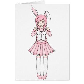 Carte Fille de lapin rose mignonne d'Anime Lolita