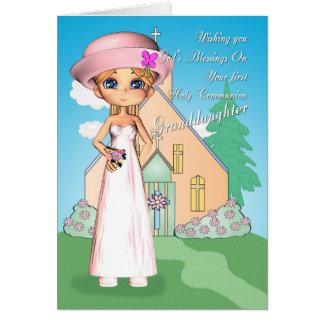 Carte Fille de première sainte communion de petite-fille