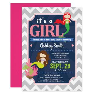 Carte Fille d'invitation de baby shower de sirène