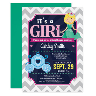 Carte Fille d'invitation de princesse baby shower
