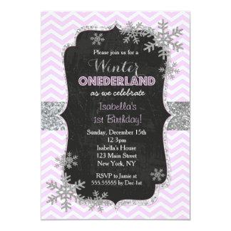 Carte Fille d'invitations de fête d'anniversaire d'hiver