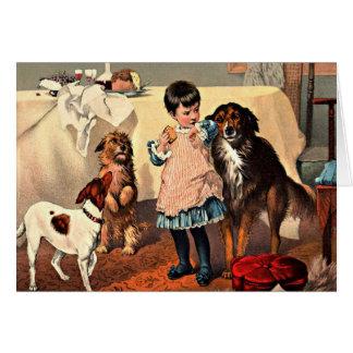 Carte : Fille et chiens
