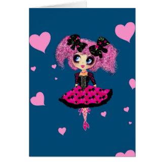 Carte Fille PinkyP - princesse de Kawaii de bal