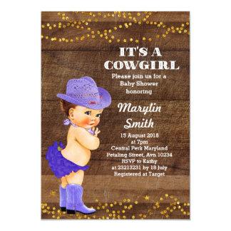 Carte Fille pourpre rustique de baby shower de cow-girl