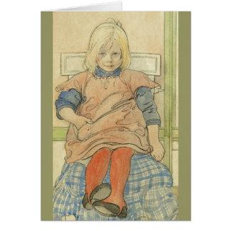 Carte Fille suédoise vintage sur la chaise de plaid