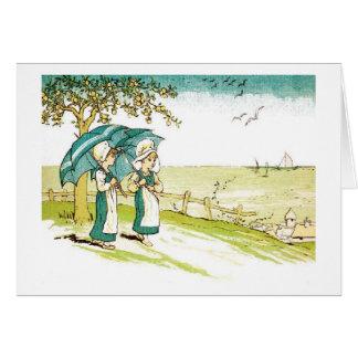Carte Filles vintages de parapluie,