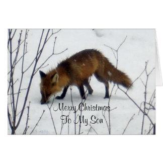 Carte Fils-Fox de Joyeux Noël dans la neige
