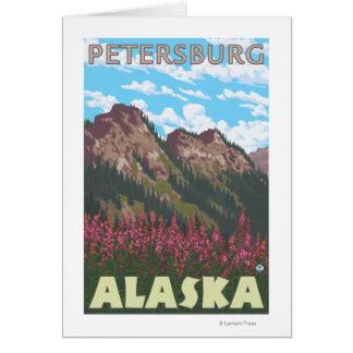 Carte Fireweed et montagnes - Pétersbourg, Alaska