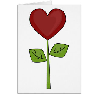 Carte Fleur de floraison de coeur - amitié
