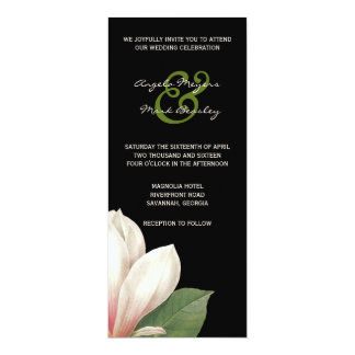 Carte Fleur de magnolia du sud épousant le noir élégant