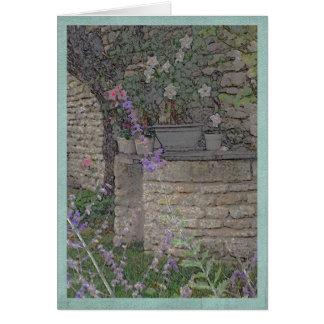Carte Fleurs de jardin et puits de pierre