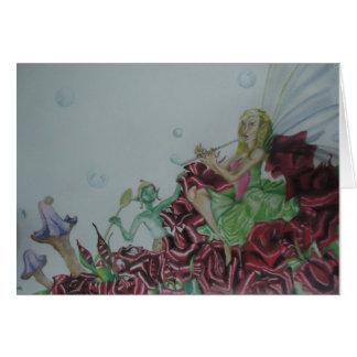Carte Fleurs d'elfes de fées de bulles de musique de