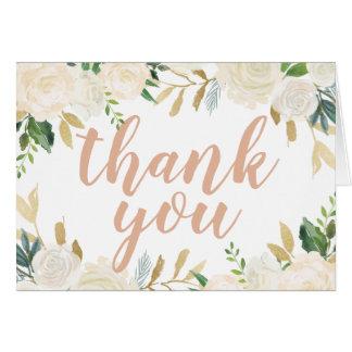 Carte Fleurs neutres d'aquarelle du Merci |
