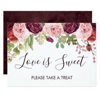 Carte Fleurs romantiques épousant le signe de barre de