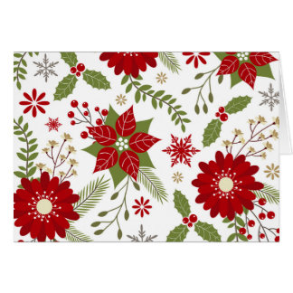Carte fleurs rustiques modernes de Noël